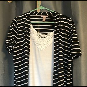 White stag striped shirt/ camisole combo